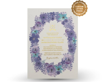 Purple flower wedding invitation set Letterpress invitation Gold Foil Silver Foil Wedding Invite RSVP Menu Wishing well - PF5302