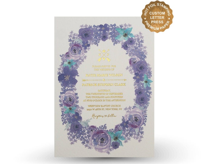 Featured listing image: Purple flower wedding invitation set Letterpress invitation Gold Foil Silver Foil Wedding Invite RSVP Menu Wishing well - PF5302