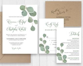 Eucalyptus Greenery Wedding Invitation Green Eucalyptus Leaves Invitation Set Botanical Boho Wedding Invite SC514(120LB premium card stock)