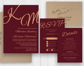 Burgundy wedding invitation, Watercolor Wine Cranberry Wedding Invitations, Burgundy invitation set - SC399 (120lb premium card stock)