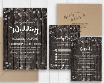 Rustic Wedding Invitation Country Wedding Invite Wood New Years Eve Wedding Invitation Printed Invite Set SC531(120LB premium card stock)
