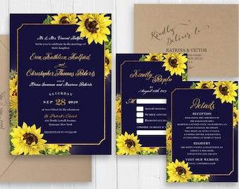 Navy Blue Wedding Invitations Sunflower Gold Wedding Invitation Printed Invite RSVP Details Save the date SC535(120lb premium card stock)