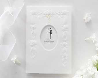 Floral Wedding Invitation, Personalized Tri Fold Couple Wedding Invitation / BH5141 - Free Envelopes, Silver Seals - Free Shipping Promotion