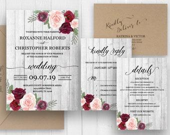 Rustic Wedding invitation, Burgundy Peach Blush Floral Wedding invitation Set, Boho Rustic Bohemian Marsala SC497(120LB premium card stock)