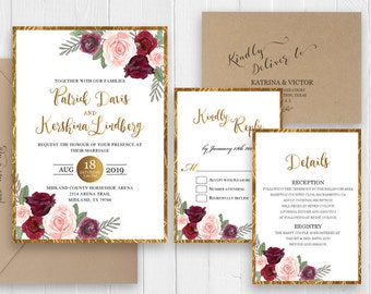 Elegant Gold Wedding Invitation Set Burgundy Peach Floral Wedding Invitation Printed Invitation RSVP Details SC522(120LB premium card stock)