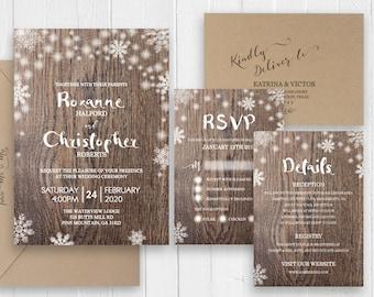 Winter Wonderland Snow Snowflakes Wedding Invitation Set Rustic Winter Wedding Printed Invite RSVP Details SC507(120LB premium card stock)