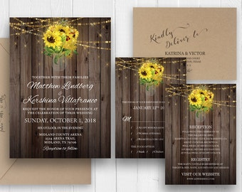 Rustic Sunflowers Mason Jar Wedding Invitation set Rustic Country Barn Wood Printed Wedding Invitation suite SC481(120LB premium card stock)
