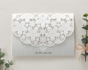 Lace wedding invitation Embossed laser cut floral rustic wedding invite All in one Invitation RSVP Envelope Seal - Free Shipping - BH6001