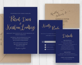 Navy blue and Gold Wedding Invitations Modern Calligraphy Faux Gold Navy Blue Wedding Invitation Suite - SC453(120LB premium card stock)