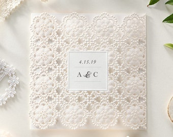 Pink Blush Lace Laser Cut Floral Wedding Invitations Elegant All in one Wedding Invitation RSVP Envelope Seal - Free Shipping - BH6023