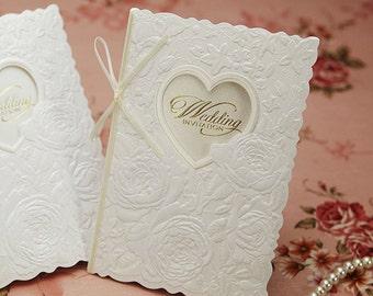 Elegant Laser cut Heart Wedding Invitations Embossed White Rose Flowers Thin Ribbon Wedding Invitations Free Envelopes Seals - BH5003