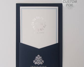 Custom Silver foil wedding invitations Blue Pocket All in one Wedding Invitation RSVP Envelope Seal - Free Shipping - FG230