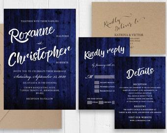 Rustic Navy Blue Wood Wedding Invitation Set Calligraphy Invitation Printed Invite RSVP Details Belly Band SC494(120LB premium card stock)