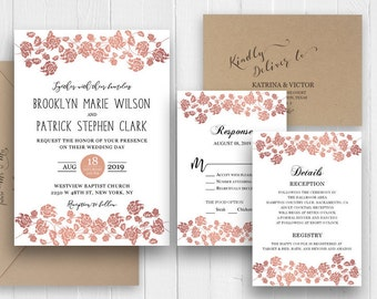 Elegant rose gold wedding invitation Set RoseGold Rose flowers Printed Wedding Invite RSVP Details Thank you SC483(120LB premium card stock)