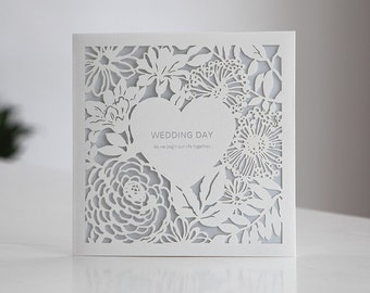 Custom Lace Laser Cut Wedding Invitations Free Proof - BH4520  - - - - - RSVP with Envelopes Seals - - - - - Free Shipping Promotion