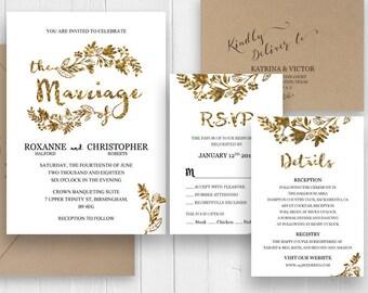 Gold Invitation Elegant Gold Wedding Invitation Set Faux Gold Scrip Invite RSVP Enclosure Printed Invite set SC371(120LB premium card stock)