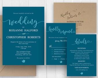 Emerald Green Wedding Invitation Elegant Blue Green Invitation Set Printed Invite Stationery RSVP Details SC488(120LB premium card stock)