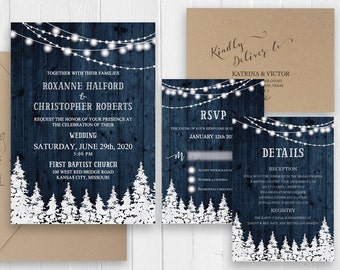 Rustic winter wedding invitations Blue gray barn wood featuring pine trees string of lights Wedding Suite SC506(120LB premium card stock)