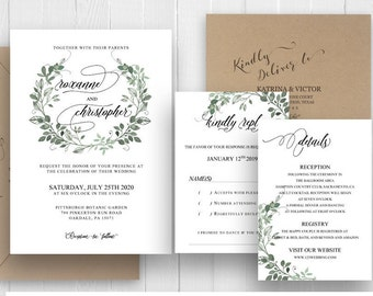 Green Wreath Wedding Invitation Set Bohemian Wedding Invites Watercolor Greenery Invite RSVP Details Bands SC499(120LB premium card stock)