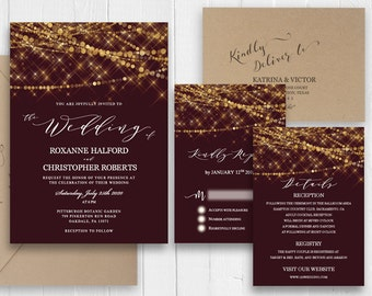 Burgundy and Gold Wedding Invitations Marsala Wedding Invitation Set Printed Invite RSVP Details Menu Cards SC566(120LB premium card stock)