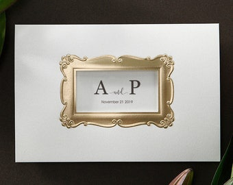 Personalised Gold Embossed Laser Cut Frame Wedding Invitations All in one Wedding Invitation RSVP Envelope Seal - Free Shipping - BH5206