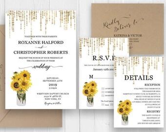 Sunflower Wedding Invitations Set  Printed Wedding Invitations Stationary RSVP Thank you Details Shower Card SC459(120lb premium card stock)