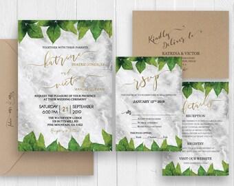 Botanic wedding invitations Marble greenery leaves Invite Botanical Invite Details Information card RSVP - SC427(120lb premium card stock)
