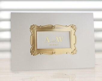 Custom Gold foil wedding invitations Gold foil Rectangular shape frame All in one Wedding Invitation RSVP Envelope Sea - FB5206