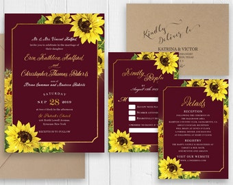 Burgundy Wedding Invitations Sunflower Maroon and Gold Glitter Wedding Invitation RSVP Printed Invite Set SC536(120LB premium card stock)