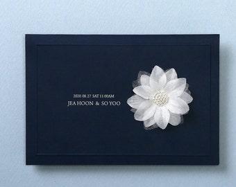 Custom silver hot foil wedding invitation Navy blue wedding invitations All in one wedding invitation RSVP Free Envelope Seal - HSW6075