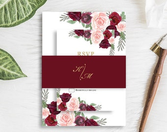 Elegant Burgundy Wedding Invitation Suite Bohemian Wine Blush Peach Flower Invite RSVP Details Belly Band SC317(120LB premium card stock)