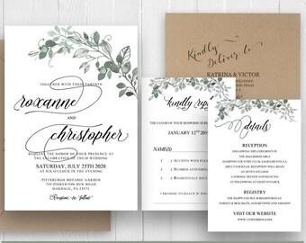 Botanical Greenery Wedding Invitations Set Watercolor Greenery Printed Invite RSVP Details Menu Belly Bands SC498(120LB premium card stock)