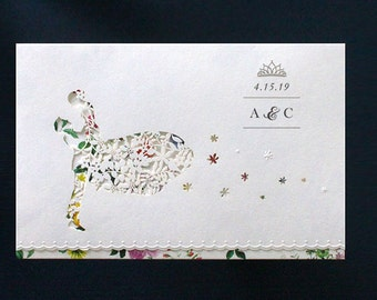 Elegant Bride & Groom Laser Cut Wedding Invitations All in one Wedding Invitation RSVP Envelope Seal - Free Shipping - Mo90027