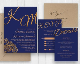 Royal Navy Blue Wedding Invitation Set Gold calligraphy Invitations Printed Invite RSVP Details Map Cards SC473(120LB premium card stock)