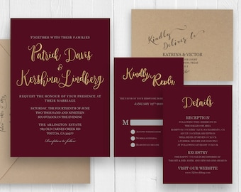 Burgundy Wedding invitation set Burgundy and gold wedding invitation, RSVP Thank You Details Accommodations -SC455(120LB premium card stock)
