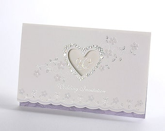 Personalized Purple Wedding Invitations Silver Foil Heart Elegant Card / Item # Neo050 - RSVP with Envelopes Seals - Free Shipping Promotion