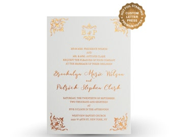 Elegant GOLD FOIL wedding invitations Custom foil invitations suite Gold Foil Silver Foil Wedding Invite RSVP Menu Birthday Party PF5205