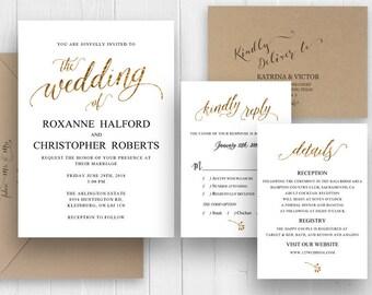 Calligraphy Wedding Invitation Set Elegant Faux Gold Script Wedding Invitations Printed Invite RSVP Details SC492(120LB premium card stock)