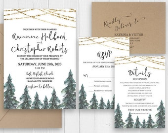 Forest Wedding  Invitation Set Rustic Outdoor Wedding Invitation Green Pine Tree Mountain Invite RSVP Cards SC509(120LB premium card stock)