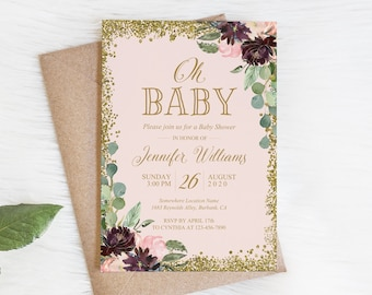 PRINTED - Baby Shower Invitation Oh Baby Invitations Elegant Floral Baby Girl Shower Pink Gold Invitation PC578(120LB premium card stock)
