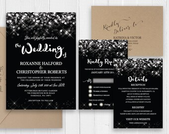 New Year's Eve Wedding Invitations Elegant Sparkle Lights Black Invitation Printed Wedding Invitation Set SC537(120lb premium card stock)