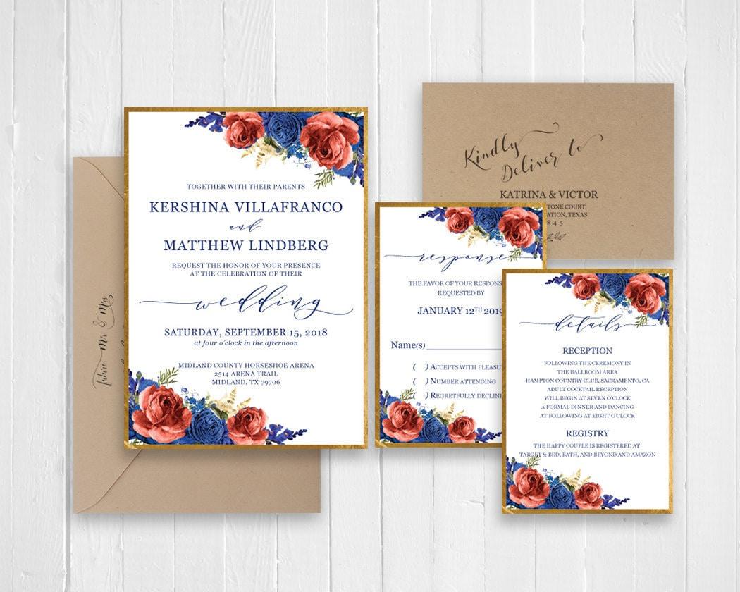 Navy And Peach Wedding Invitations: Navy Blue Peach Floral Wedding Invitation Gold Wedding