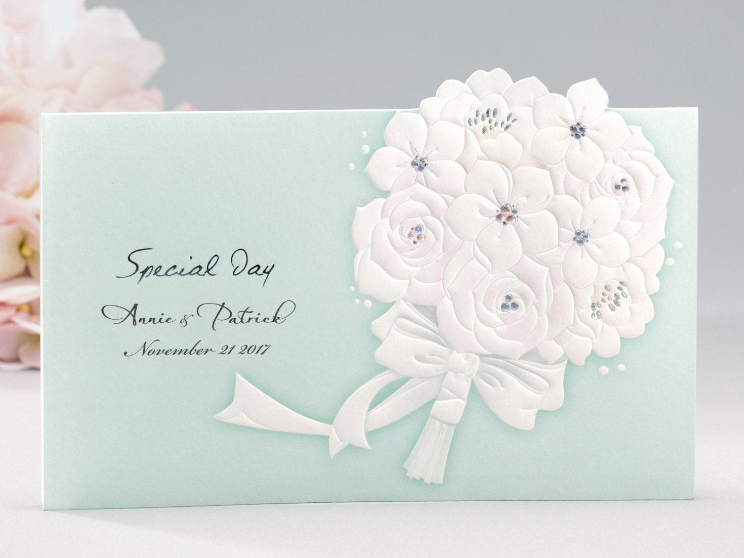 Tiffany Blue Wedding Invitations Kits: Tiffany Blue Wedding Invitations White Embossed Elegant