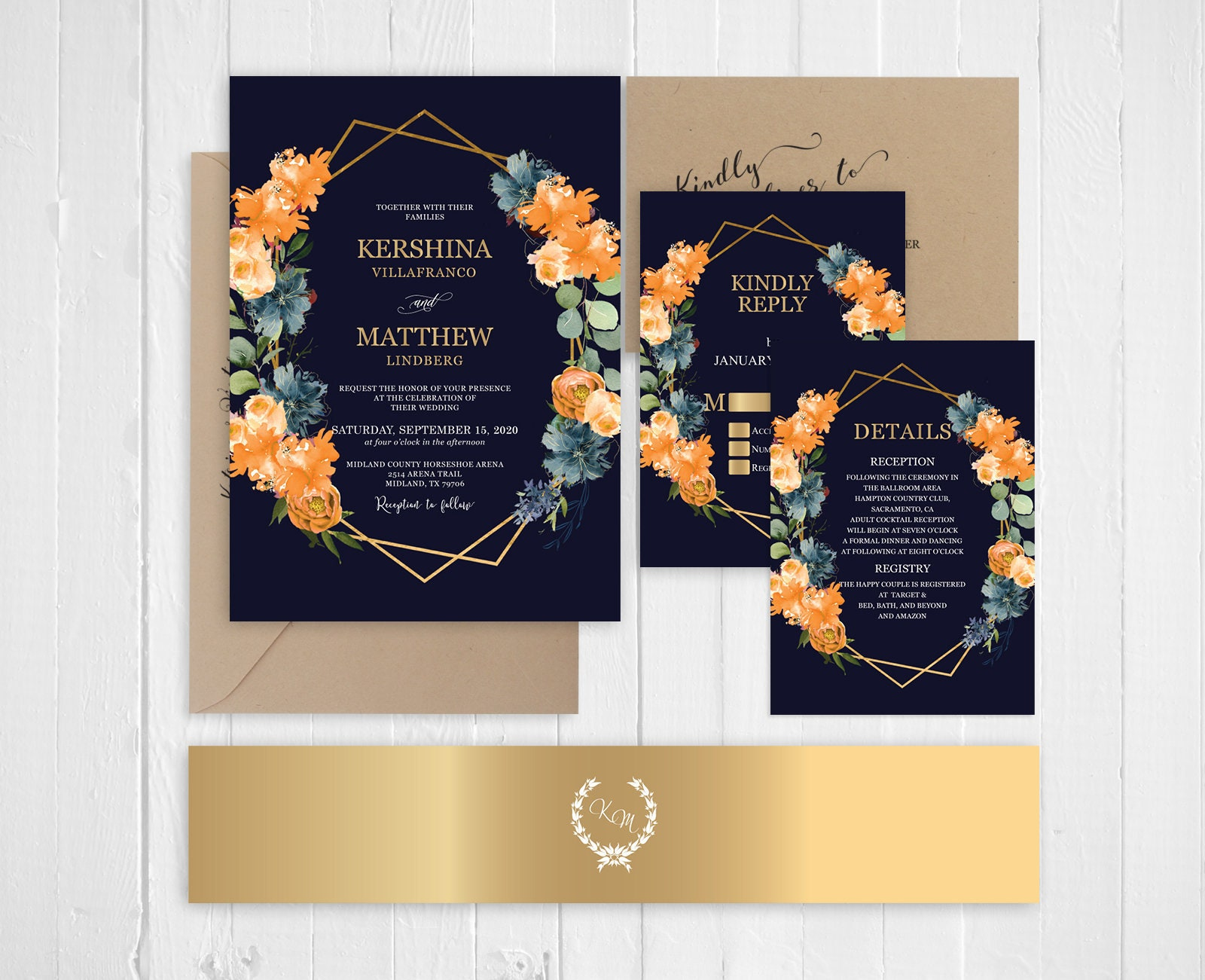 Orange And Green Wedding Invitations: Navy Orange Green Wedding Invitation Late Summer And