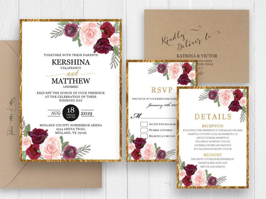 Burgundy And Gold Wedding Invitations: Elegant Wedding Invitation Burgundy Gold Frame Wedding