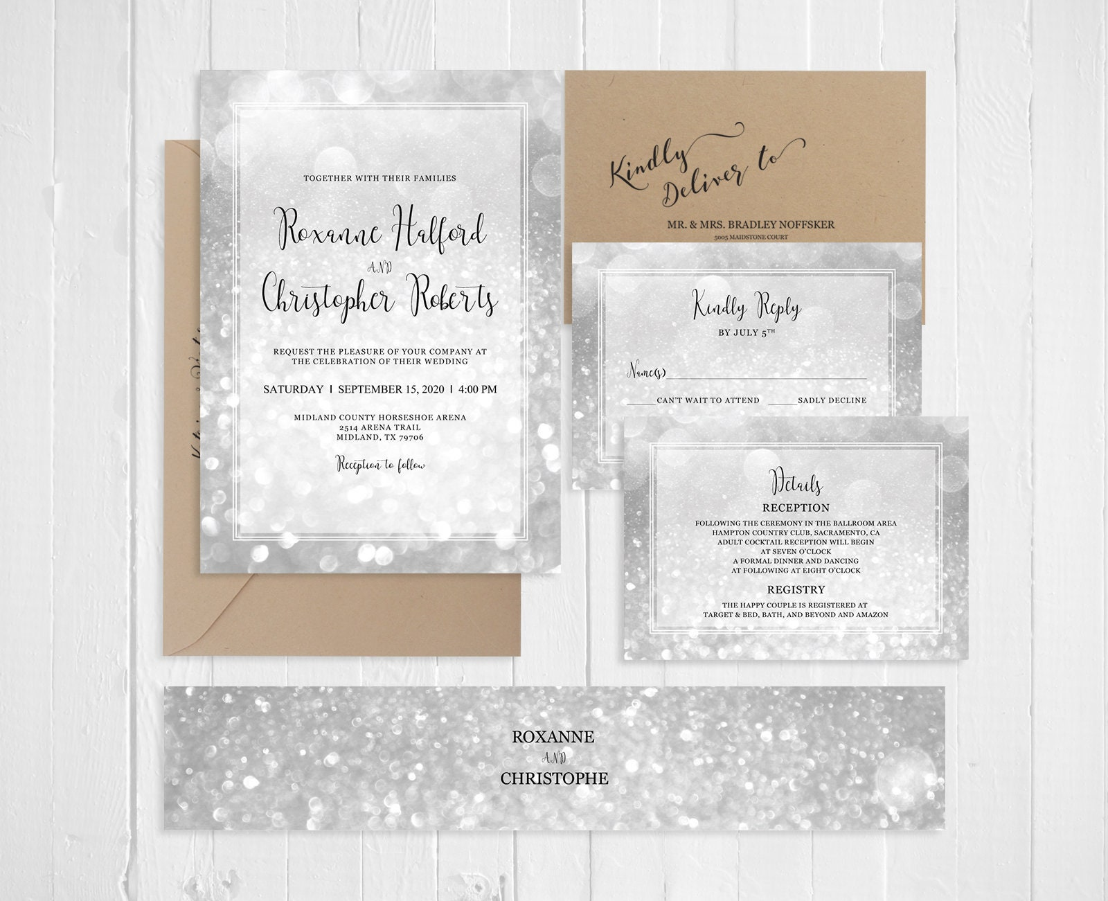Silver Wedding Invitations Silver Sparkles Invitation Suite Silver Bokeh  Wedding Invitation Printed Invite RSVP Set SC799(120LB)