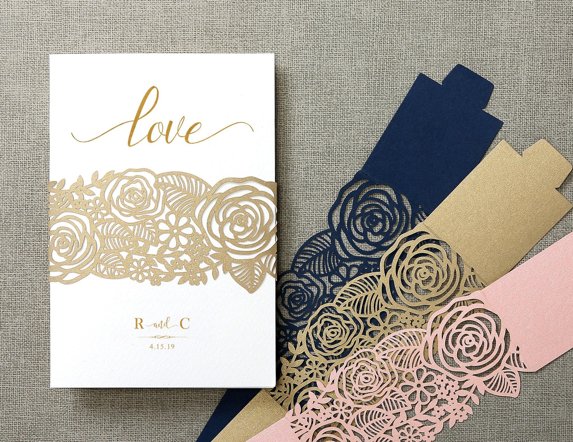 Elegant rose flowers laser cut belly band wedding invitations cards