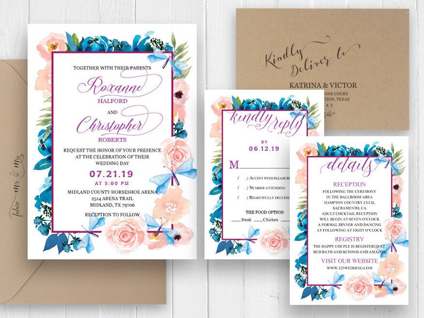 Purple And Blue Wedding Invitations: Peach Indigo Blue Purple Wedding Invitations Watercolor