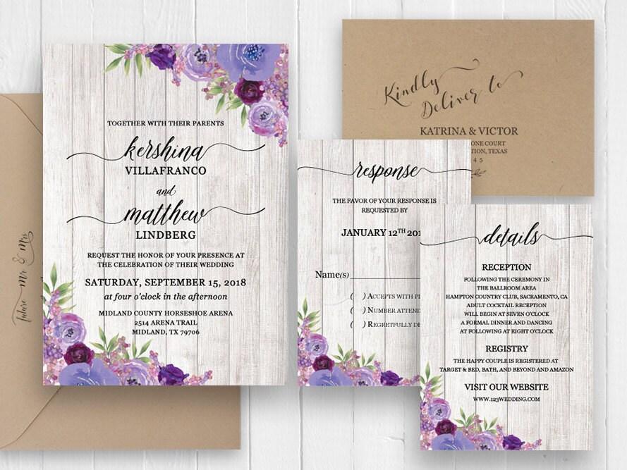 Purple Rustic Wedding Invitations: Rustic Wedding Invitation Set Purple Violet Plum Floral