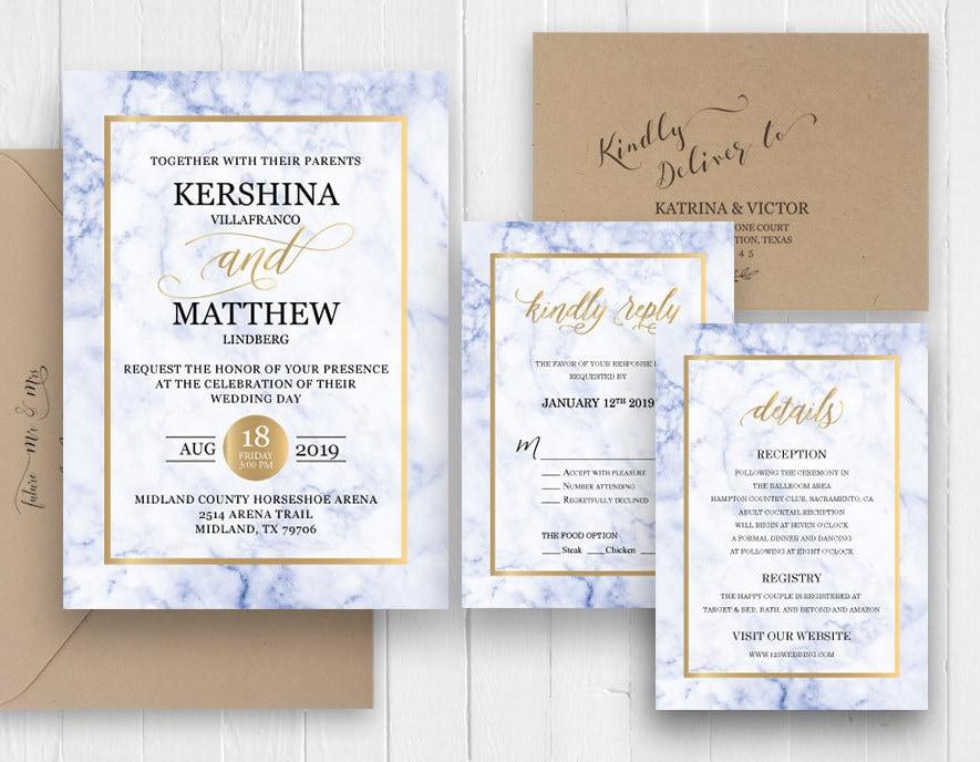 Navy blue wedding invitations affordable modern marble wedding navy blue wedding invitations affordable modern marble wedding invitation set cheap wedding invitation sc398 120lb premium card stock filmwisefo